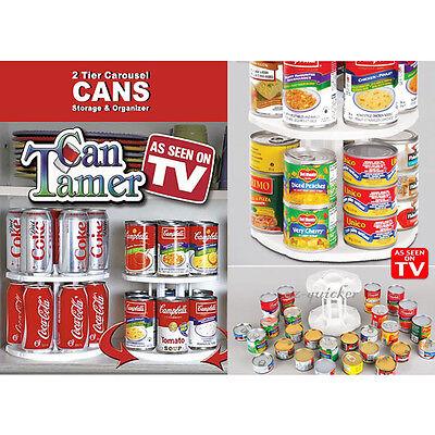 Can Tamer Kitchen Organizer Bottle Shelf Cabinet 2 Tier Spinning Carousel