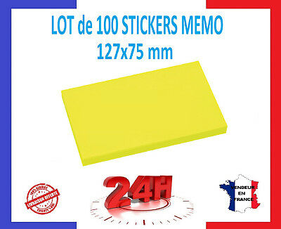 100 Stickers - Sticky 127x75 Mm -it Bloc Notes Post Memo Sheets Koop Altijd Goed