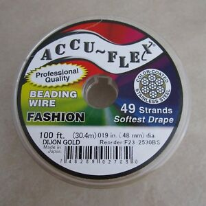100-039-beading-wire-Accuflex-gold-steel-49-strand-019-inch-width