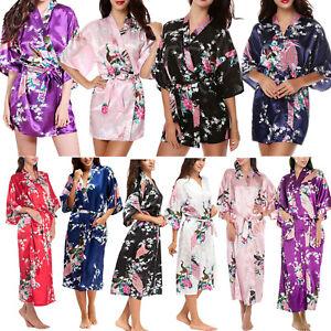 Lady-Bridesmaid-Peacock-Kimono-Robe-Wedding-Bride-Women-Satin-Silk-Dressing-Gown