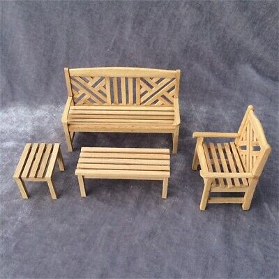 Strange Dollhouse Miniatures Furniture Lot Bench Outdoor Terrace Patio Chair Wood 1 12 Ebay Gmtry Best Dining Table And Chair Ideas Images Gmtryco