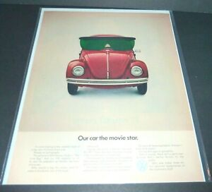 """VW BUG  LARGE MAGAZINE AD  """"OUR CAR THE MOVIE STAR HERBIE THE LOVE BUG""""  1960s"""