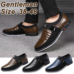 Mens-Casual-Oxfords-Leather-Shoes-Pointed-Toe-Business-Formal-Dress-Flat-Loafers