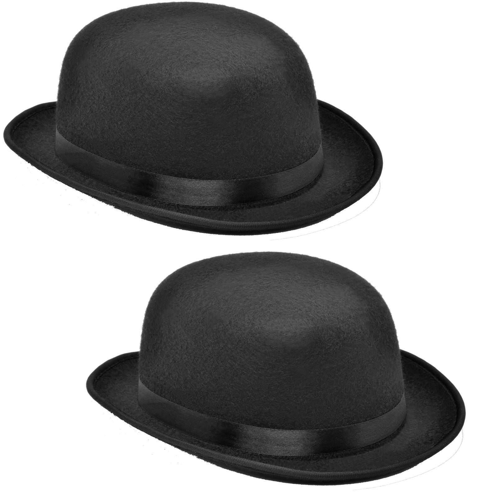 1 x oder 2 x schwarzer Kinder Bowler Hut 54/55 Melone schwarz Reiterhut Chaplin