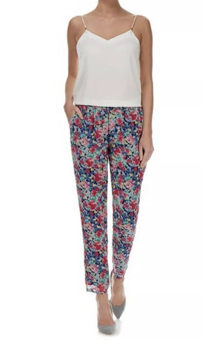 268 NWT Joie Marceline Multicoloured Floral Print Silk Trousers RARE Size XS