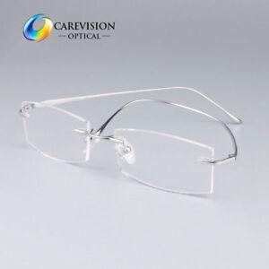 11e9f61e2d Image is loading Pure-Titanium-Men-Rimless-Myopia-Eyeglasses-Frames -Flexible-
