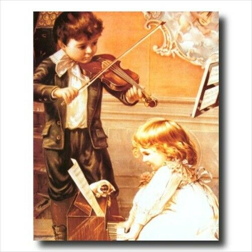 Victorian Boy Girl Piano Wall Picture Art Print