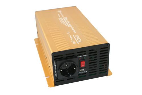 Convertisseur de Tension 1000 2000 Watt 12V Power USB 2.1A Onde Sinusoïdale Pure