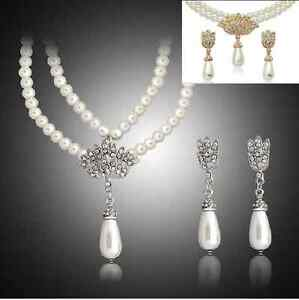 Gold Plated Diamante Imitation Pearl Necklace Pierced Earrings Jewelry Set S63