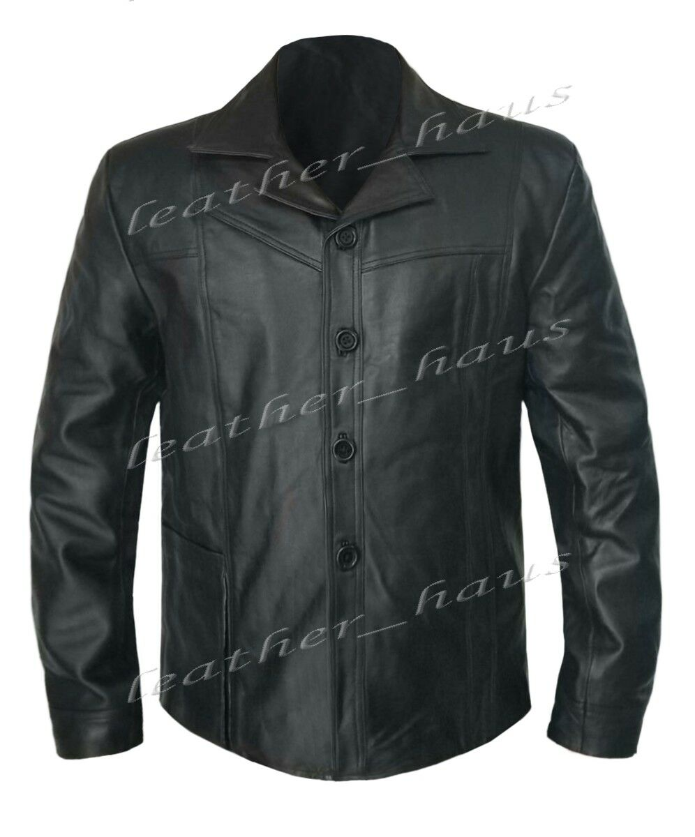 Real Les Genuine Leather Les Real Tuer DouceHommes t Brad Pitt Bomber Style Motard Veste 519 d593bc