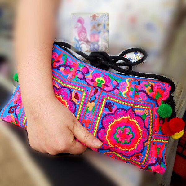 Small Pom Ethnic Boho Embroidered Clutch Handbag Crossbody Zip Purse Message Bag