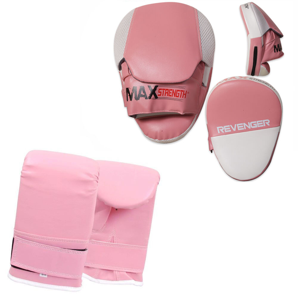 Ladies Pink Focus Pads Set MMA Boxing Punch Sparring Training Mitts Hook and Jab