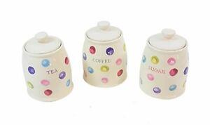 SET OF 3 PRINTED SPOTS DOTS ROUND CERAMIC TEA COFFEE SUGAR STORAGE CANISTER JARS