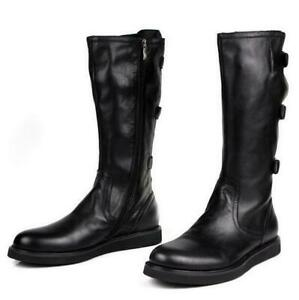 combat mens real leather shoes knee high boots platform