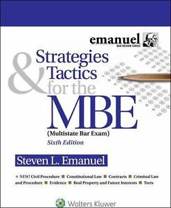 Details about Strategies & Tactics for the MBE (Multistate Bar Exam) 6th  Paperback by Emanuel