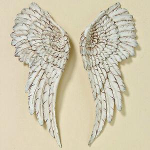DE Wanddeko Engelsflügel 2 Stück Silber Wandskulptur Flügel Deko Gold 38x100 cm