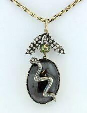 Uno splendido diamante Georgiano, demantoide Granato Serpente Ciondolo circa anni 1800
