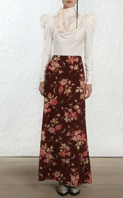 Zimmermann Unbridled Contour Rock   Burghandy Floral Maxi Wolle    1,100