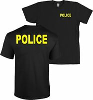 Police Front And Back T-shirt Huge Neon Yellow Letters Black -