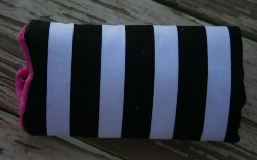 infant car seat carrying handle cushion black stripe with pink minky