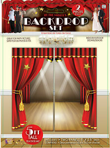 At The Movies Scene Setter Party Decoration Red Curtain Hollywood Wall Backdrop Ebay