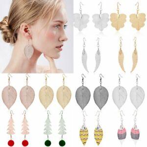 Women-Natural-Real-Leaf-Drop-Dangle-Ear-Hook-Earrings-Jewelry-Party-Gift-New