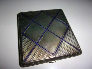 Boite-emaillee-bleu-cartes-etui-a-cigarettes-en-argent-periode-art-deco-TBE