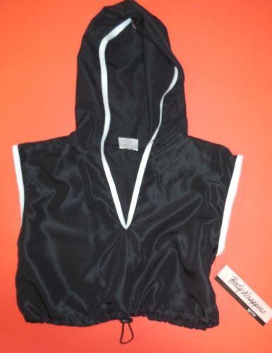 NWT Body Wrappers 3100 Hip Hop hoodie black w// white trim drawstring pull cord