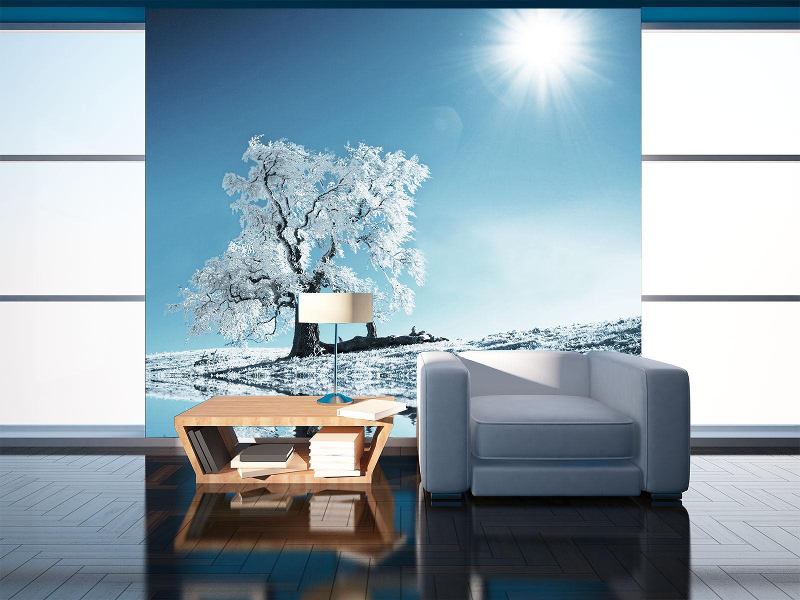 3D Weiß Snow Tree River Sun 07 Wall Paper Wall Print Decal Wall AJ WALLPAPER CA