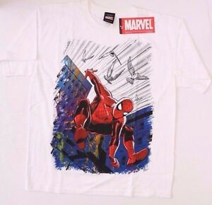 Marvel Comics White Sleeveless Spider-man Tee Tank Top Size M Ages 14-16 T-Shirt