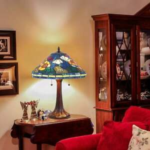 Set-of-2-Tiffany-Style-Golden-Poppy-Stained-Glass-Table-Reading-Accent-Lamp
