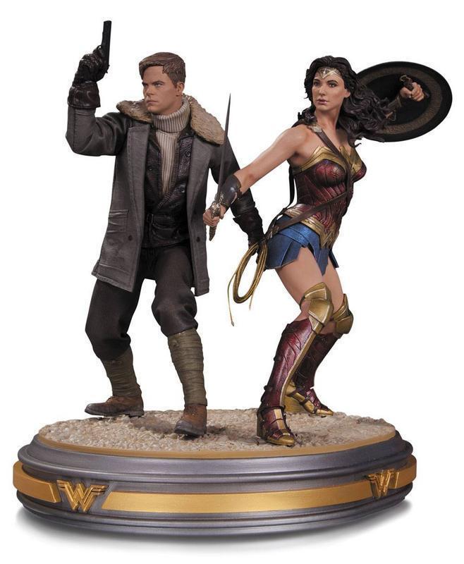 Wonder woman movie statuette 1 6 wonder woman and steve trevor 34 cm 345512