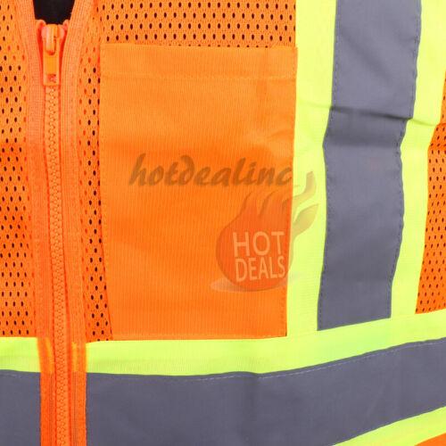 Work Reflective Safety Vest Hi Vis High Visibility Strips w//3-Pockets Zip Front