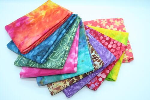 100/% algodón edredón Stash constructor 10 X FQ Batik Misterio Paquete de Fat Quarters