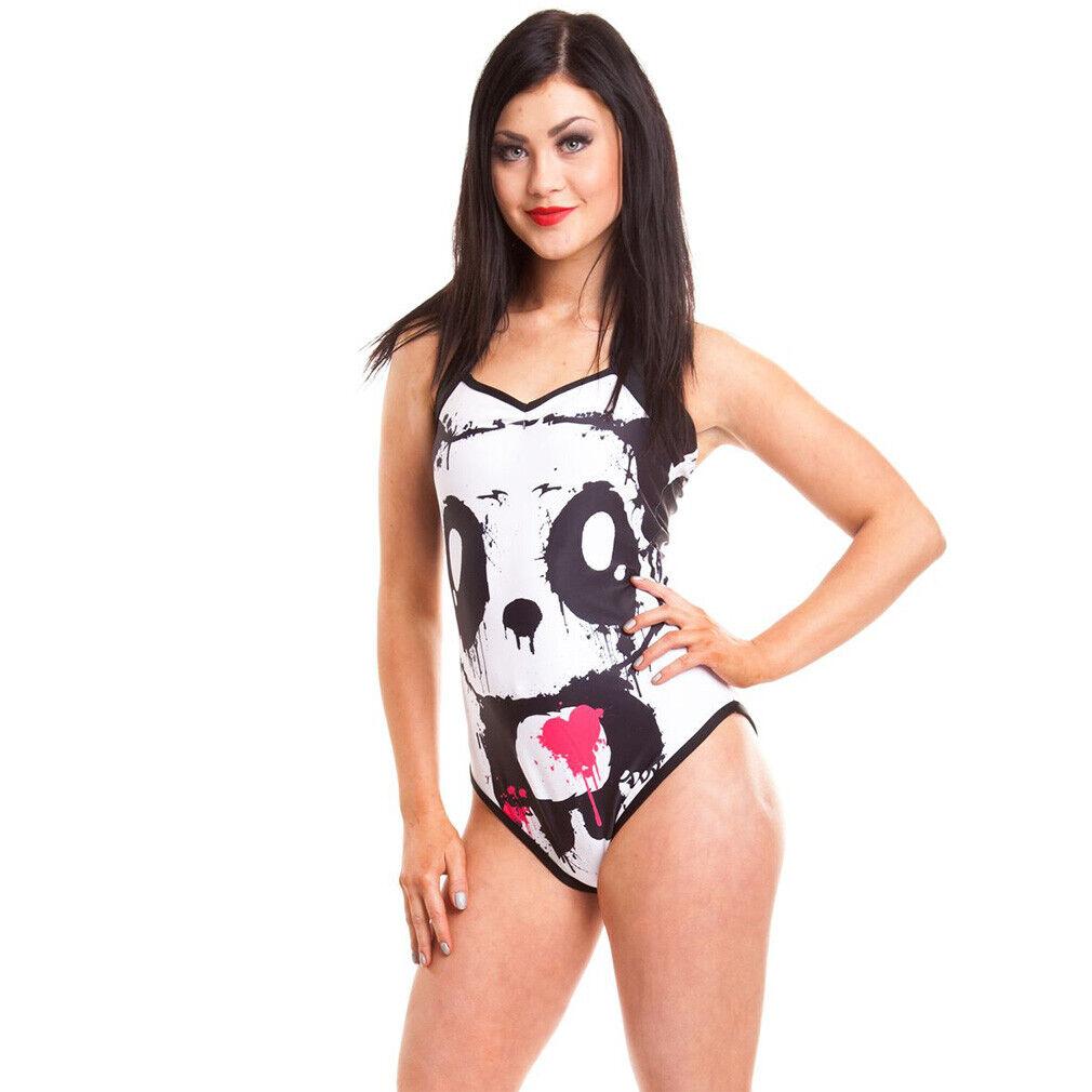 Killer Panda Kawaii Punk Neckholder Badeanzug - Mase Bär Zombie