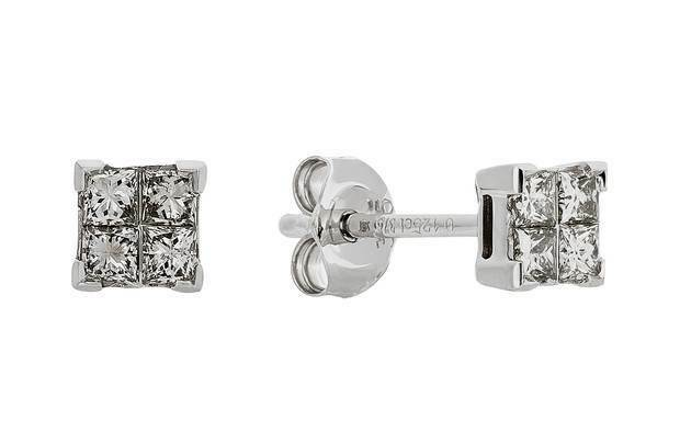 REVERE 9CT WHITE gold 0.25CT  DIAMOND EARRINGS 4mm 7219478