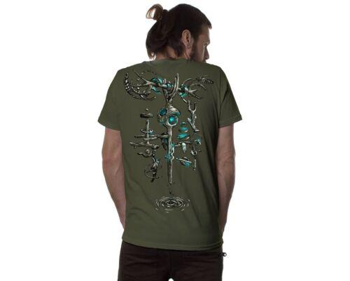 Silk Print Men Top,Cool T-Shirt Psy Tance Goa,Burning Man,Mens Tribal Shirt