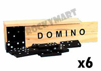 Lot Of 6 Dominoes Classic Wooden Tile Game Travel Size Wood Box 28 Piece Rm1340
