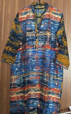 100% Vero Kurta Kurti Etnico Indiano Pakistano Lungo Vestito Kameez Asiatico Multi Taglia Large-mostra Il Titolo Originale Ultima Moda