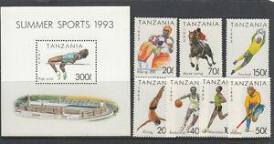 Stamps-1993-Tanzania-various-sports-set-of-7-plus-mini-sheet-MUH-nice-thematics