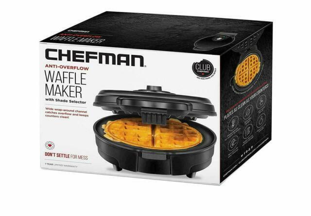 Chefman 1C0AJ Anti-Overflow Belgian Waffle Maker - Black
