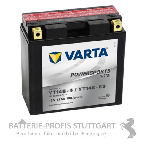 Säurepack 512903 VARTA Motorrad Batterie AGM YT14B-4 YT14B-BS 12V 12Ah  inkl