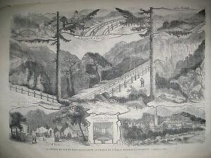 TRAIN-CHEMIN-DE-FER-DU-MONT-CENIS-FRANCE-ITALIE-MEXIQUE-DILIGENCE-GRAVURES-1868