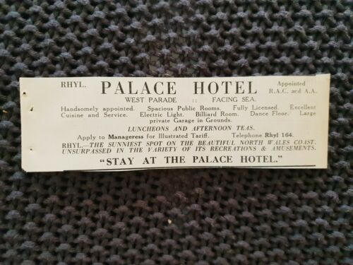 Palace Hotel, Rhyl 1931 Advertisement