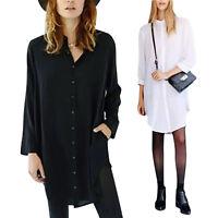 Women Sexy Casual Loose Long Sleeve Tops Button Down T-shirt Club Shirt Dress