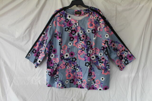 Bob Mackie Wearable Art 3X Scrub Top Floral Print