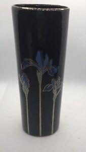 "Vintage - Blue Iris - OTAGIRI Japan Oval Vase Black with Gold Trim7"""