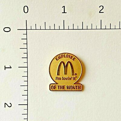 McDONALDS EMPLOYEE OF THE MONTH PIN  Im LOVING IT  GOLD COLORED  NEW