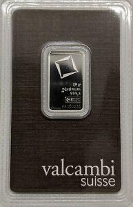 - SKU#209227 10 gram Platinum Bar Valcambi In Assay