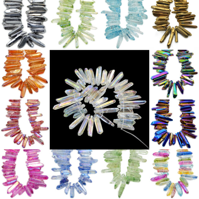 Natural Quartz Crystal Druzy Freeform Stick Titanium Coated Loose Beads 7.5""